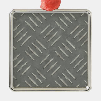 Diamond Plate Stainless Steel Textured Silver-Colored Square Decoration