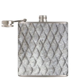 Diamond Plate Steel Hip Flask