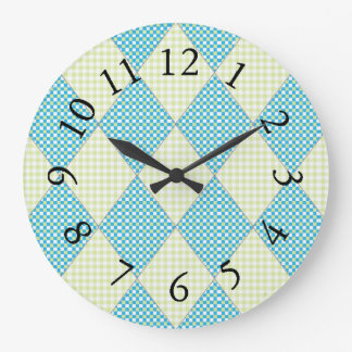 Diamond-Quilt-Harlequin_Blue & Lime Large Clock