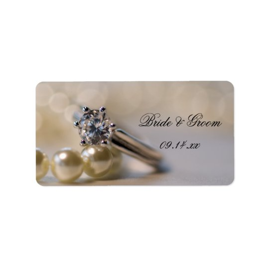Diamond Ring and Pearls Wedding Favour Tags Address Label