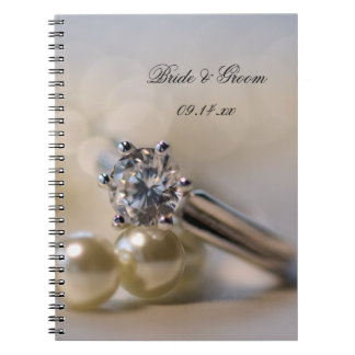 Diamond Ring and Pearls Wedding Notebook