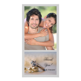 Diamond Ring and Pearls Wedding Thank You Picture Card