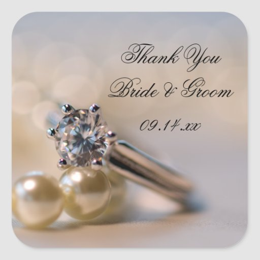 Diamond Ring and Pearls Wedding Thank You Stickers