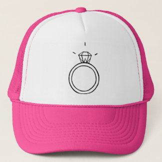Diamond Ring Baseball Cap in HOT PINK