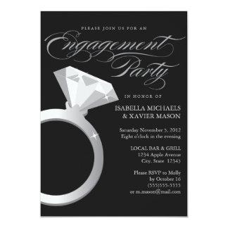 Diamond Ring | Black 13 Cm X 18 Cm Invitation Card