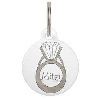 Diamond Ring Bling Personalized Fashion Pet Tag