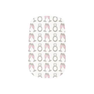 Diamond Ring Bling Wedding Pink Champagne Nail Art
