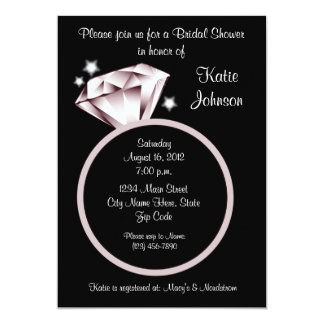 Diamond Ring Bridal Shower Invitation black white