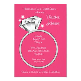 Diamond Ring Bridal Shower Invitation Guava Pink