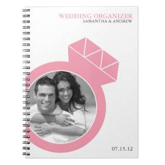 Diamond Ring Custom Photo Wedding Organizer Spiral Notebooks