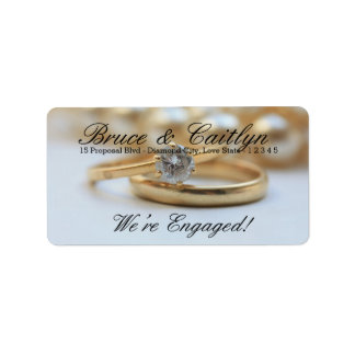 Diamond ring engagement announcement address label