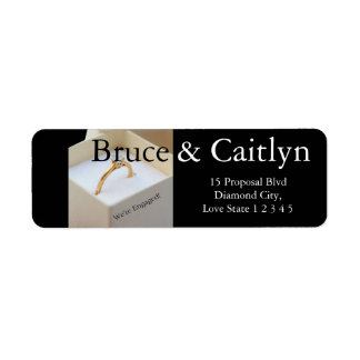 Diamond ring engagement announcement return address label