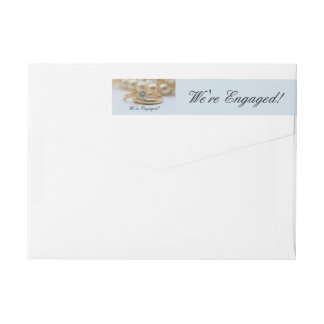 Diamond ring engagement announcement wraparound return address label