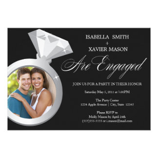 Diamond Ring Engagement Party Invite Photo