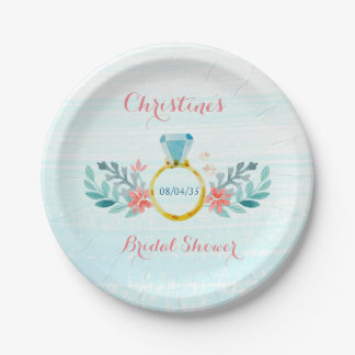 Diamond Ring Floral Bridal Shower Paper Plate