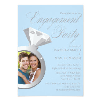 Diamond Ring | Light Blue Photo Edition 13 Cm X 18 Cm Invitation Card
