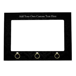 Diamond Ring on Black Picture Frame Magnet