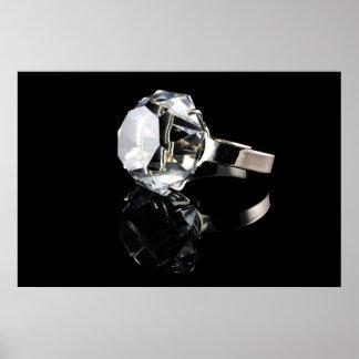 Diamond ring on black poster