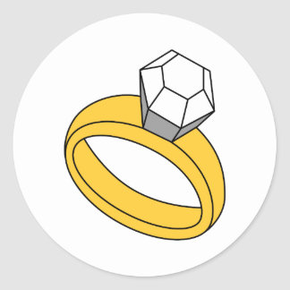 Diamond Ring Round Sticker