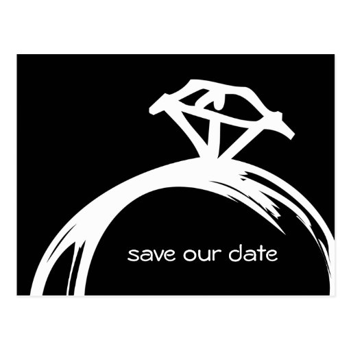 Diamond Ring Save The Date Postcard