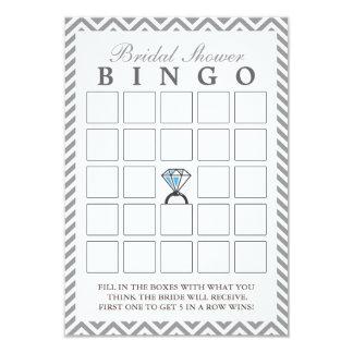 Diamond Ring Silver Zigzag Bridal Bingo Cards