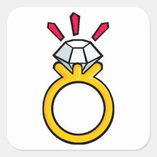 Diamond Ring Square Sticker