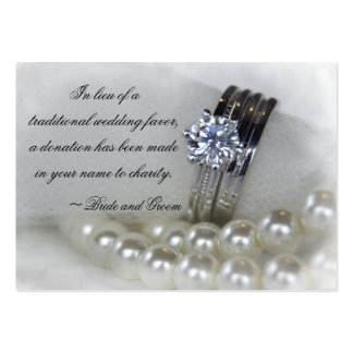 Diamond Rings and Pearls Wedding Charity Favors Pack Of Chubby Business Cards