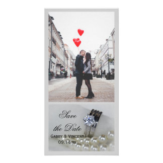 Diamond Rings and Pearls Wedding Save the Date Card
