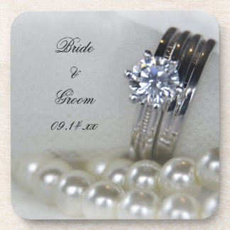 Diamond Rings and White Pearls Wedding Beverage Coasters