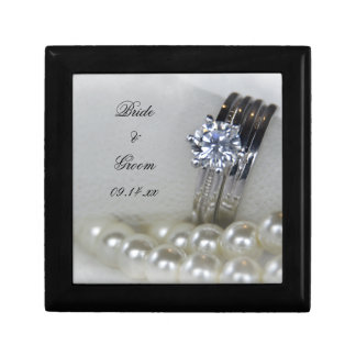 Diamond Rings and White Pearls Wedding Gift Box