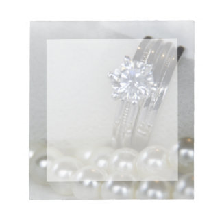 Diamond Rings and White Pearls Wedding Notepad