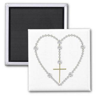 Diamond Rosary - Hail Mary Full of Grace Square Magnet