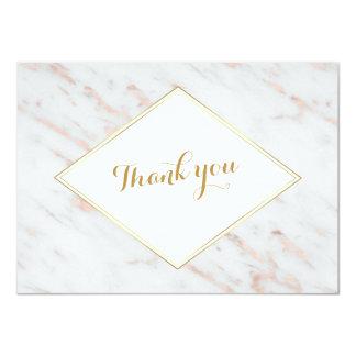 Diamond Rose Gold Marble Wedding THANK YOU Card