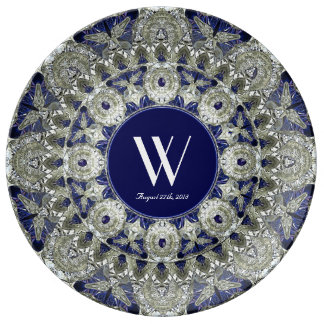 Diamond Sapphire Star Wedding Monogram Plate