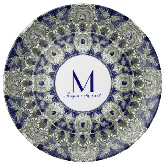 Diamond Sapphire Star Wedding Monogram Plate Porcelain Plates