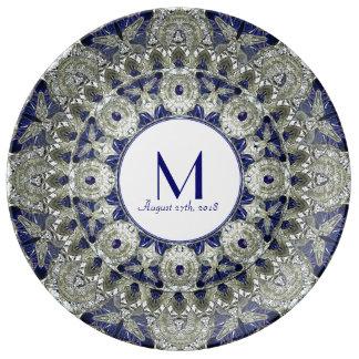 Diamond Sapphire Star Wedding Monogram Plate Porcelain Plates