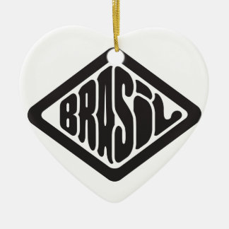 diamond shape Brasil retro logo Ceramic Ornament