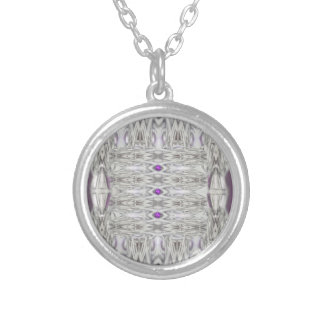 Diamond Shapes in Black and White with Purple Silver Plated Necklace