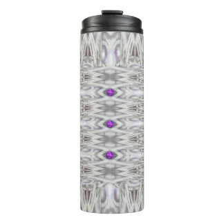 Diamond Shapes in Black and White with Purple Thermal Tumbler
