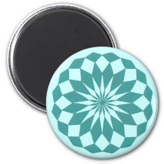 Diamond Shapes in Teal Turquoise, Mandala Magnets