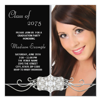Diamond Silver and Black Photo Graduation Card