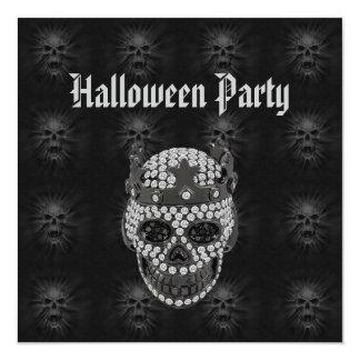 Diamond Skull & Screaming Skulls Halloween Party Card