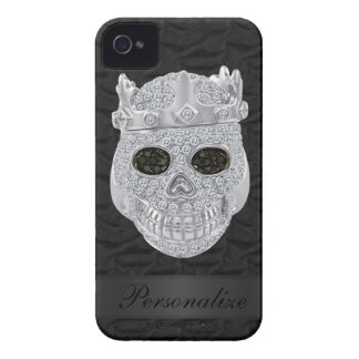 Diamond Skull with Crown Black iPhone 4 Case
