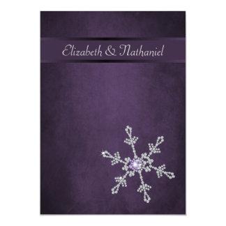Diamond Snowflakes & Ribbon Wedding Invitation