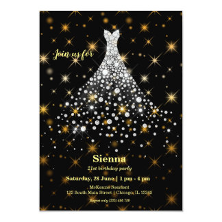 Diamond sparkling gown card