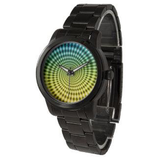 Diamond Spiral Vortex Illusion, Blue / Yellow, Wristwatches