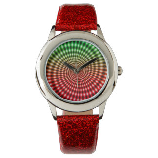 Diamond Spiral Vortex Illusion, Green / Red, Wrist Watches