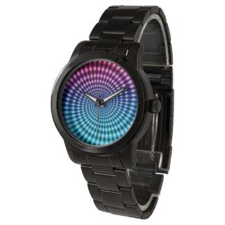 Diamond Spiral Vortex Illusion, Pink / Teal, Wristwatches