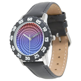 Diamond Spiral Vortex Illusion, Red / Blue, Watches