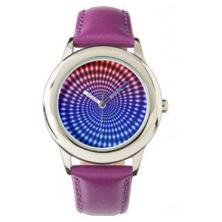 Diamond Spiral Vortex Illusion, Red / Blue, Wristwatch